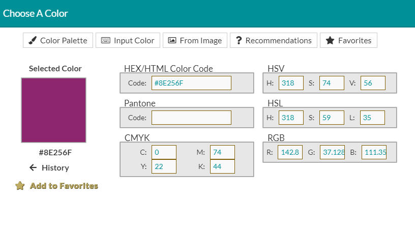 Details Color Code Form